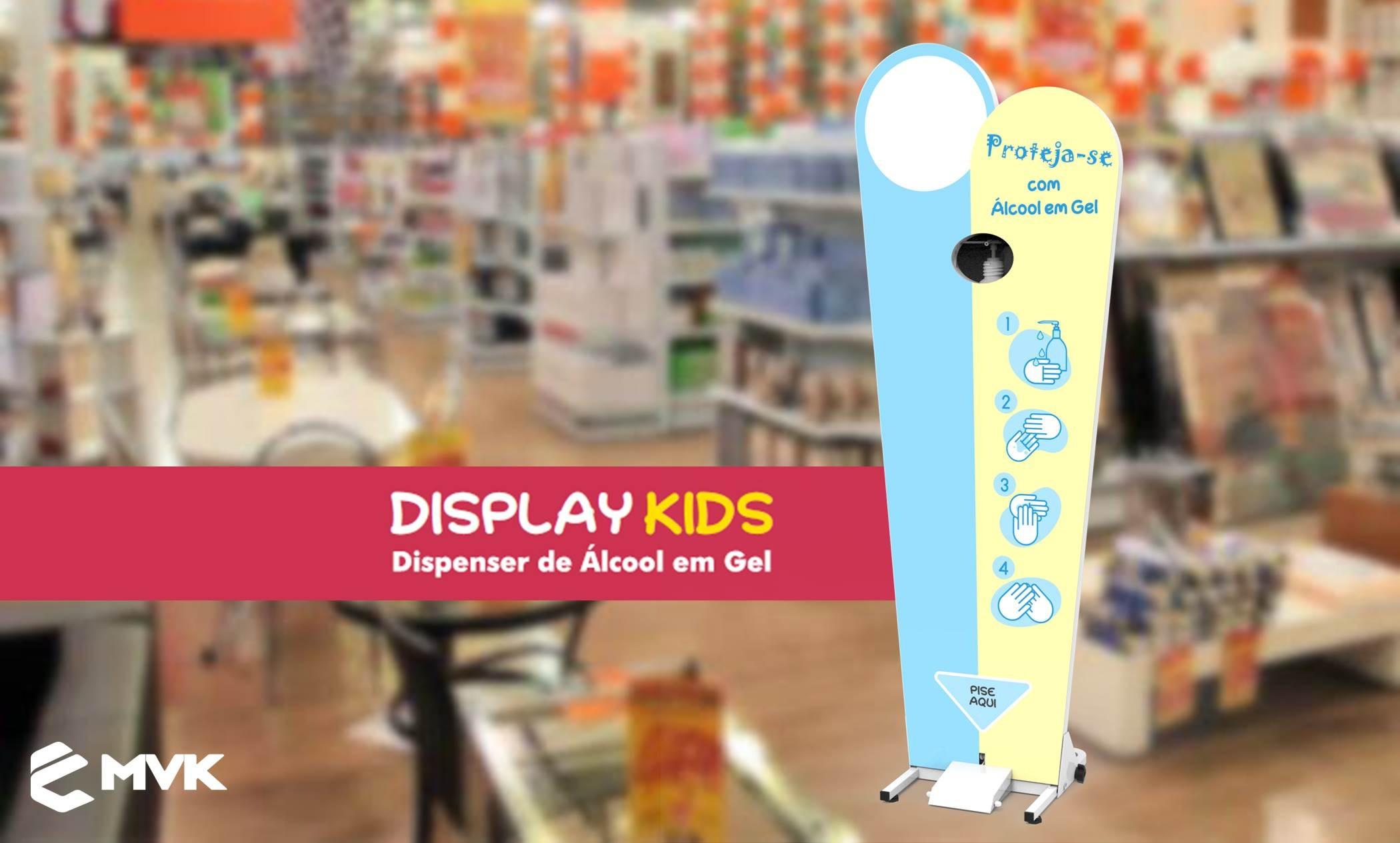 Display higienizador para álcool em gel MVK acione com o pé e fique protegido